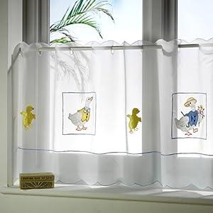 white blue yellow ducks cafe net curtain kitchen home