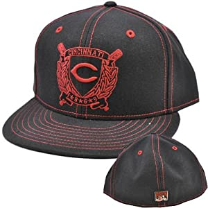 MLB Cincinnati Reds American Needle Black Red Fitted 7 3 8 Flat Bill Hat Cap by MLB Official Licensed