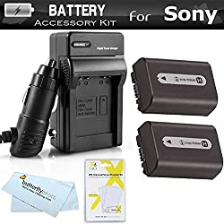 2 Pack Battery And Charger Kit For Sony Cyber-Shot DSC-HX100V DSC-HX200V Digital Digital Camera Includes 2 Extended (1000mAh) Replacement NP-FH50 Batteries + Ac/Dc Rapid Travel Charger + LCD Screen Protectors + MicroFiber Cleaning Cloth