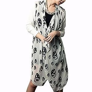 UZZO Women's Skull Print Open Cardigan Coat Asymmetric Bloues Top