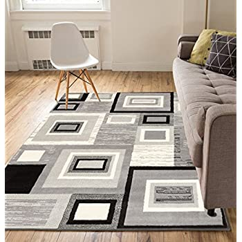 "Well Woven Geometric Squares Grey 82"" x 910"" Area Rug Carpet"