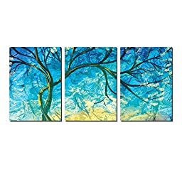 Elvoes Canvas Wall Art Tree of Life Canvas Artwork Modern Abstract Blossom Tree Painting art for home decoration 1420inch3piece with framed