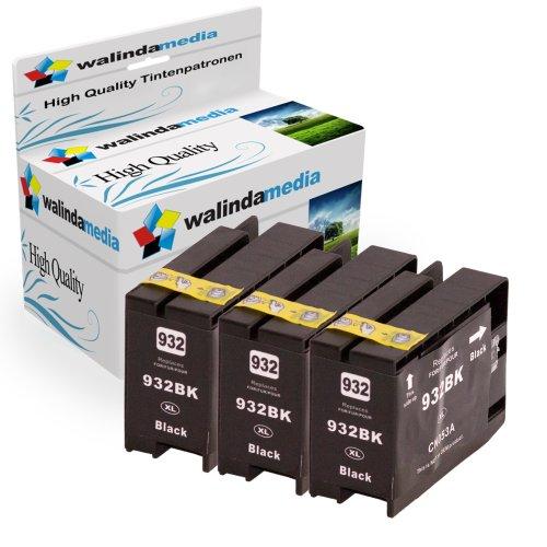 Walindamedia 3x Druckerpatronen Ersatz für Hp 1x 932 XL Tinte black, je 1.000 Seiten Leistung Ersatz für Hp CN053AE ( 932 xl , hp932xl) , schwarz, bk, Original Majorserie