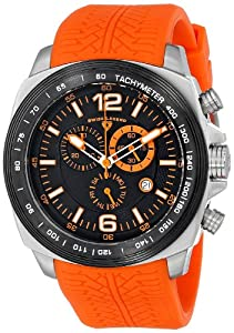 """Swiss Legend Men's """"Sprinter"""" Stainless Steel and Black Ion Plating Orange Silicone Watch"""