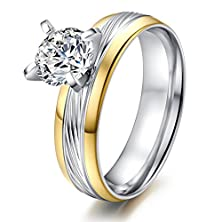 buy Women'S Stainless Steel Cz Cubic Zirconia Promise Engagement Wedding Band Rings,Silver,Size 6