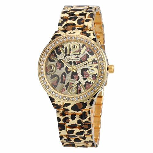 Women'S Leopard Print Pattern Diamond Case Gold Alloy Band Quartz Wrist Watch - Gold