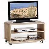 TV-Rack-Beistelltisch-Lowboard-Couchtisch-Wohnzimmertisch-MIAMI-1-Regalboden-4-Doppelrollen-in-Sonoma-Eiche