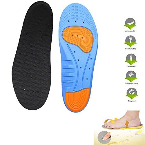 LEAGY Men's & Women's Memory Foam Orthopedic Silica Gel Blue Shoe Insole, Odor-x Odor Fighting Insoles, Orthopedic Shoes, Plantar Fasciitis Shoes, Superfeet Blue, Orthotic Inserts (Blue, 5-10 US) (Orthotic Inserts Superfeet compare prices)