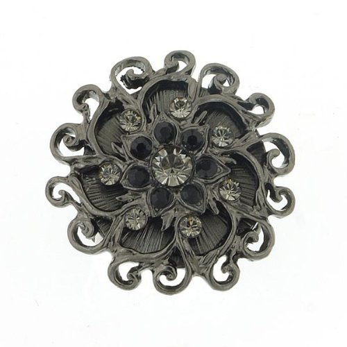 Black Sun Crystal Flower Cocktail Ring