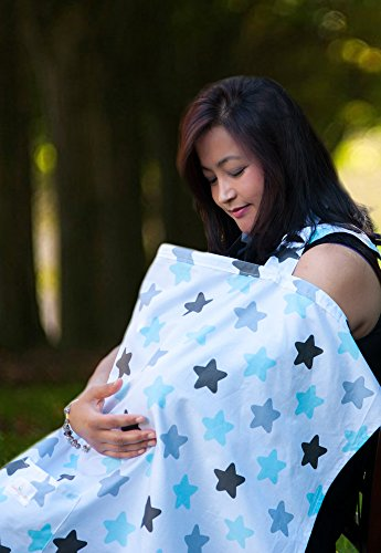Baby Nursing Cover for Breastfeeding Babies with Privacy Neckline. 100% Breathable Breastfeeding Cover Cotton.. (Star)