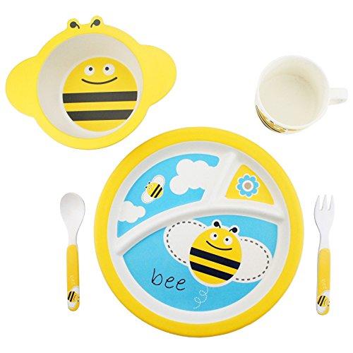 BambooFox-Kindergeschirr-set-Buntes-Bambus-Geschirr-und-Besteck-Set-mit-Motiven-100-Bio-Bambus-umweltfreundlich-Biene