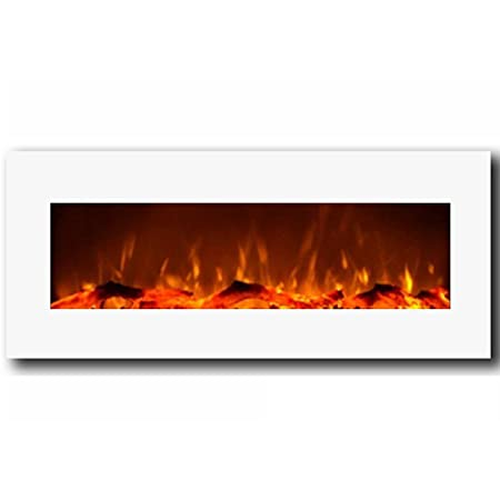 "Moda Flame Houston 50"" Electric Wall Mounted Fireplace White"