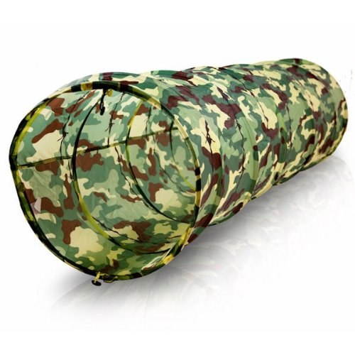 Kids Army Camouflage Tunnel Tent - Razor Wire Effect Playtent