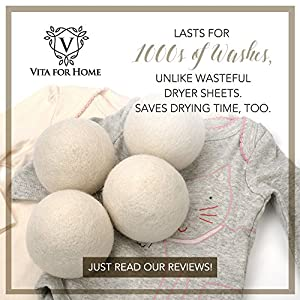 Wool Dryer Balls - Hand Made With Premium New Zealand Wool - Set of 4 With Free Reusable Cloth Gift Bag - Laundry Softening for Baby and the Whole Family
