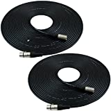 GLS Audio 50ft Mic Cable Patch Cords - XLR Male to XLR Female Black Microphone Cables - 50' Balanced Mike Snake Cord - 2 PACK