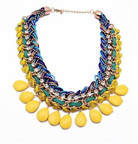 Girl Era Handmade Mesh Costume Jewelry Acrylic Bib Statement Necklace For Womens(yellow)