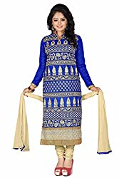 JHEENU Blue Women's Chanderi unstitched Straight Salwar Suit dress material