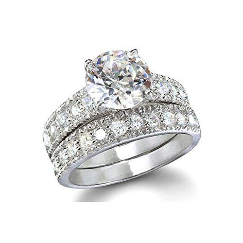 [ジュエリーキャッスル] Jewelry Castle リング 豪華 5.5カラット ハート&キューピッド (H&C) CZダイヤモンド ( キュービックジルコニア ) セットリング USサイズ 5号 ( 日本サイズ 9号 ~ 10号 )