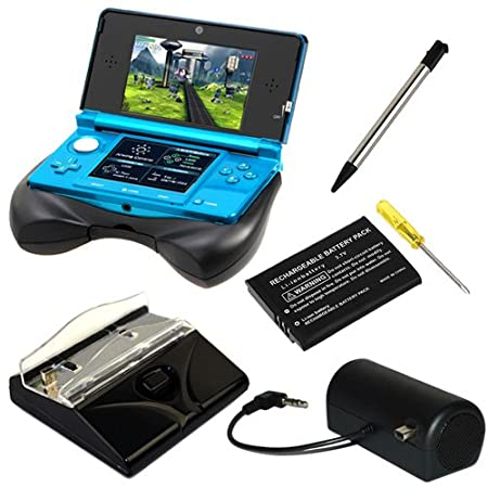GTMax 5 in 1 Black Bundle - Mini Stero Speaker + Desktop Charger + Li-Ion Battery Rechargeable Pack with Screwdriver + Retractable Metalic Stylus + Grip for Nintendo 3DS