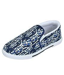 Leewon M-12 Blue Men's Canvas Sneakers (Size : 6 )