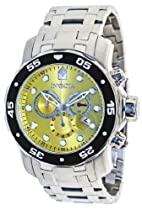 Invicta Pro Diver Chronograph Yellow Dial Stainless Steel Mens Watch 80055