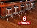 6 Chrome Black Commercial Grade Restaurant Strong Swivel Barstools