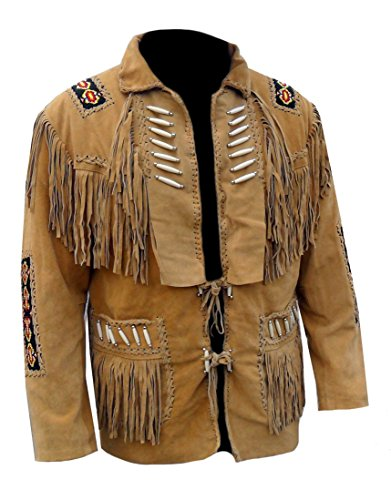 Classyak Men`s Western Fringed Boned High Quality Leather Jacket Suede Brown Large