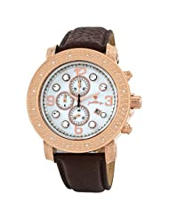 """JBW-Just Bling Men's JB-6116L-E """"Tazo"""" 18K Rose-Gold Plated Chronograph Genuine Leather Watch"""