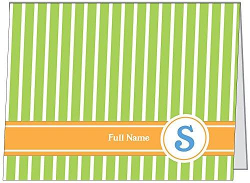 Vistaprint Green Preppy Monogram Horizontal Folded Note Cards front-61238
