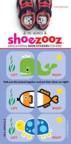 Shoezooz - Educational Shoe Stickers for Kids - Sea Animals