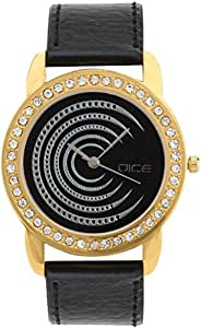 "Dice ""Princess 8018"" Fashionable, Elegant, Contemporary, Tasteful Attractive Watch for Women. Fitted with Black Dial, Gold Plated Jewel Stone Case with Anti Allergic Leather Strap"