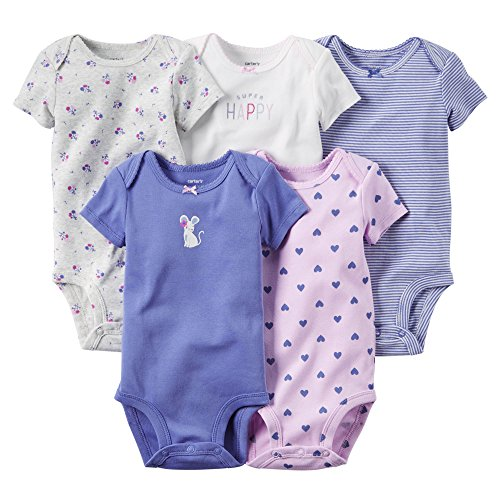 Carters Baby Girls 5 Pack Bodysuits (Baby) - Happy Mouse-24M