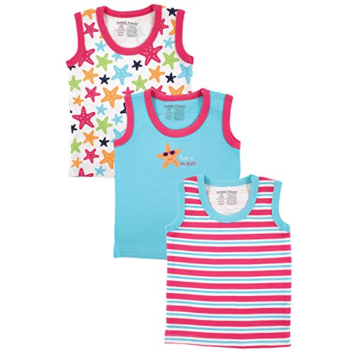 Luvable Friends Sleeveless Tops 3 Pack, Starfish, 9-12 Months
