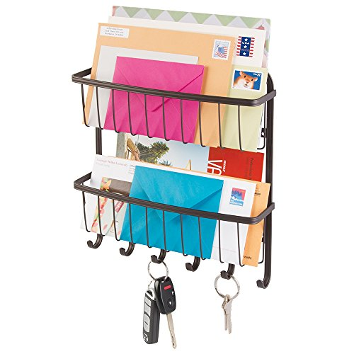 mDesign Mail, Letter Holder, Key Rack Organizer for Entryway, Kitchen - 2 Tier, Wall Mount, Bronze (Bill Wall Organizer compare prices)
