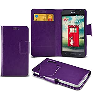 (Purple) LG L90 D405 Protective Mega Thin Faux Leather Suction Pad Wallet Case Cover Skin With Credit/Debit Card Slots Aventus