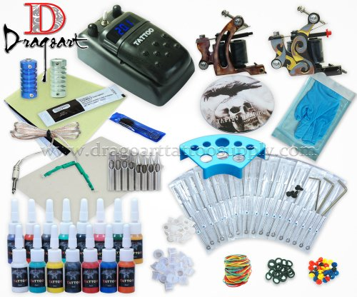 Dragoart Complete Tattoo Kit 2 Machine Set Equipment Power Supply 15 Color Inks Tkt-6-2