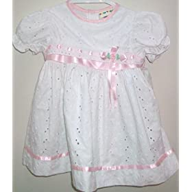 Baby Girl 24 Months, White Cotton Pretty Dress Frock Adorable