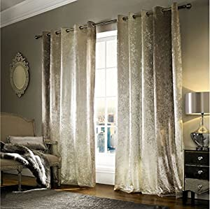 """Kylie Minogue Natala Champagne Velvet Lined 66"""" X 54"""" - 168cm X 137cm Ring Top Curtains from Kylie Minogue Home."""