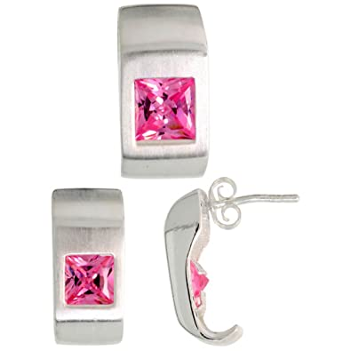 Revoni Sterling Silver Matte-finish Fancy Earrings (16mm tall) & Pendant Slide (17mm tall) Set, w/ Princess Cut Pink Tourmaline-colored CZ Stones