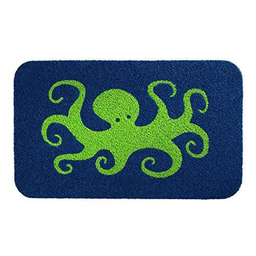 Indoor outdoor door mat 18 x 30 green octopus blue for Decorative door mats indoor