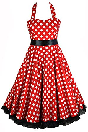 50s Red & White Polka Dot Swing Rockabilly Dress with Black Ribbon Bow & Petticoat