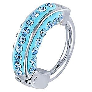 Modern Blue CZ Gems Cartilage Huggie Hoop Earring Helix Piercing