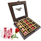 Valentine Chocholik's Belgium Chocolates - Unending Love Chocolates With Love Card And Rose