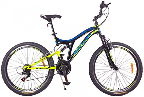 26 Zoll Mountainbike Hurican MTB Fahrrad Fully vollgefedert, Farben:blau-gelb