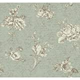 York Wallcoverings ER8147 Waverly Cottage Picture Perfect Wallpaper, Aquamarine/Soft Gold/White/Dark Chocolate