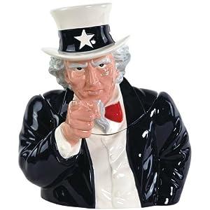 Westland Giftware Ceramic Cookie Jar, Uncle Sam, 11.5-Inch