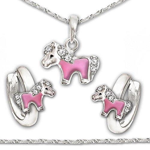 CLEVER-SCHMUCK-SET-Silberne-Kindercreolen-Mini-Pony-teils-rosa-lackiert-mit-mehreren-Zirkonias-und-passendem-Anhnger-inklusive-Kette-Singapur-40-cm-glnzend-STERLING-SILBER-925