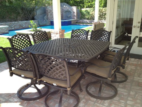 Lovely  Detail shop Heritage Outdoor Living Nassau Cast Aluminum pc Outdoor Patio Dining Set with x Square Table Antique Bronze