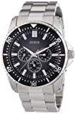Guess Focus Men's Quartz Watch with Black Dial Analogue Display and Silver Stainless Steel Strap W10245G4