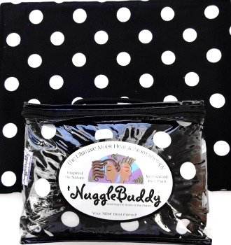 """'Nugglebuddy Moist Heat & Aromatherapy Organic Rice Pack For Microwave. Black & White Licorice Dot Fabric For Polka Dot Lovers! Say """"Hello"""""""" To Your New Best Friend! Unscented."""